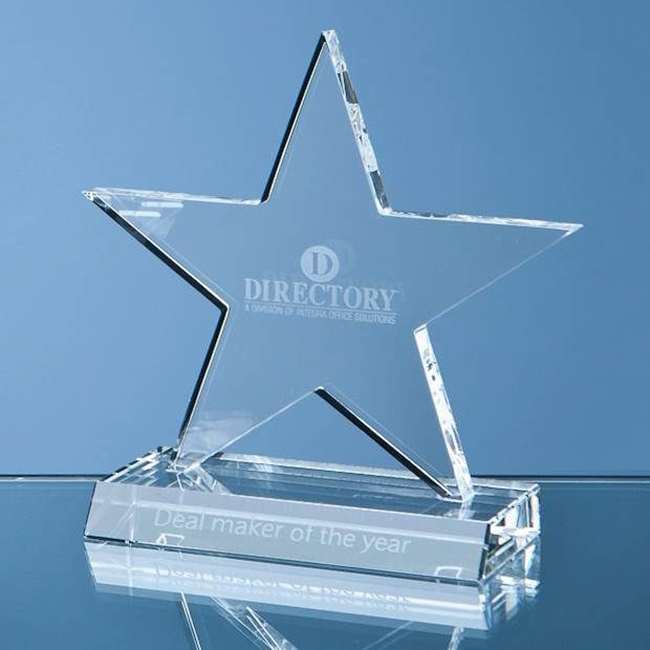 Crystal Glass Star Plaque (medium) (h 13cm)