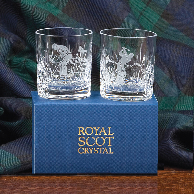 Royal Scot Crystal – 2 Shot / Tot Tumbler, Hand Cut Kintyre (with panel for engraving) (Gift Boxed) 60mm