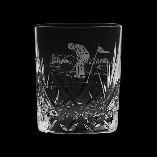 Royal Scot Crystal Large Tumbler Cut Highland (with panel for engraving) (Gift Boxed) 95mm
