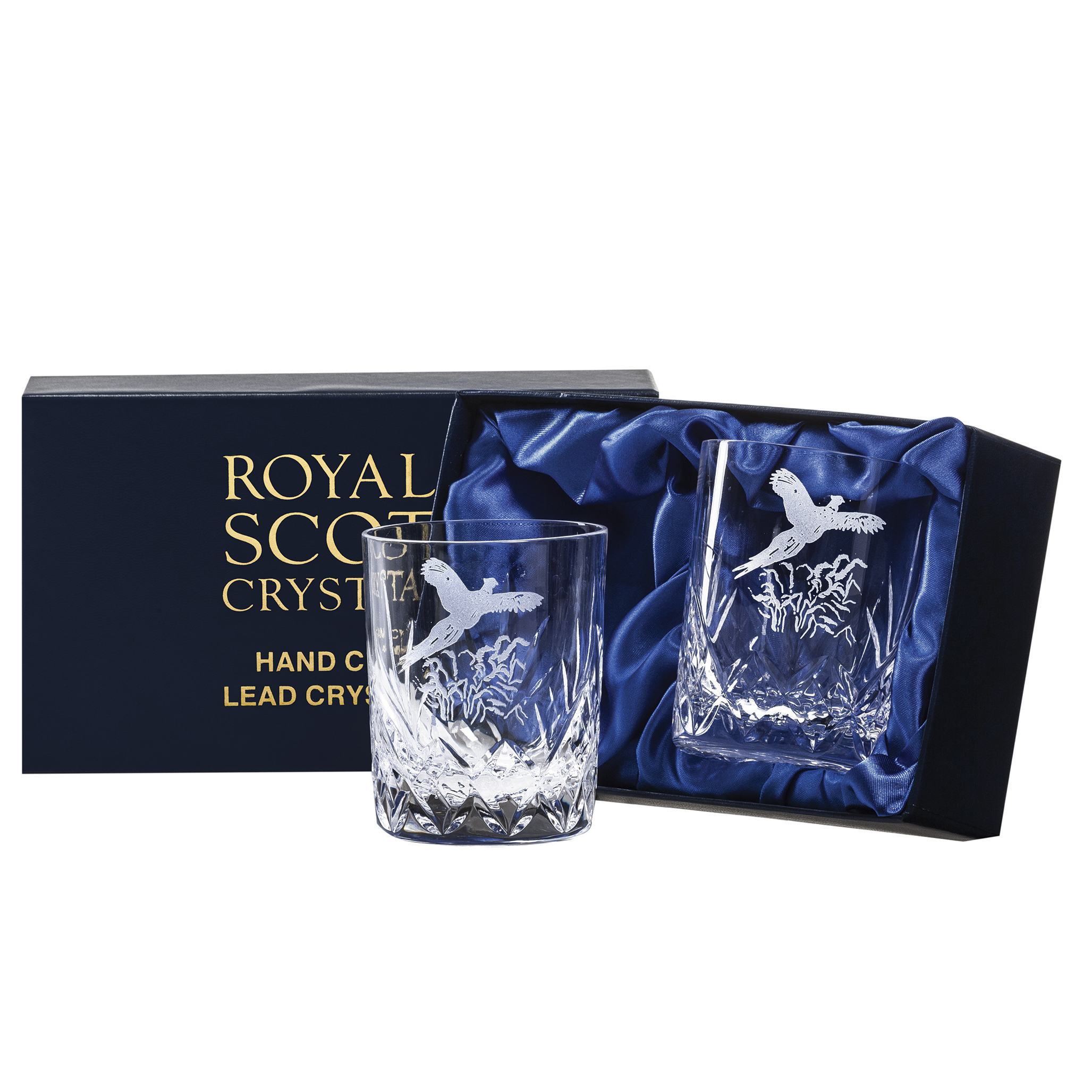 Royal Scot Crystal – 2 Whisky (small) Tumblers Hand Cut Highland (with panel for engraving) (Presentation Boxed)