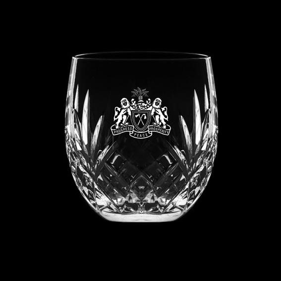 Royal Scot Crystal Barrel Tumbler cut Highland  (engraved) (gift boxed)