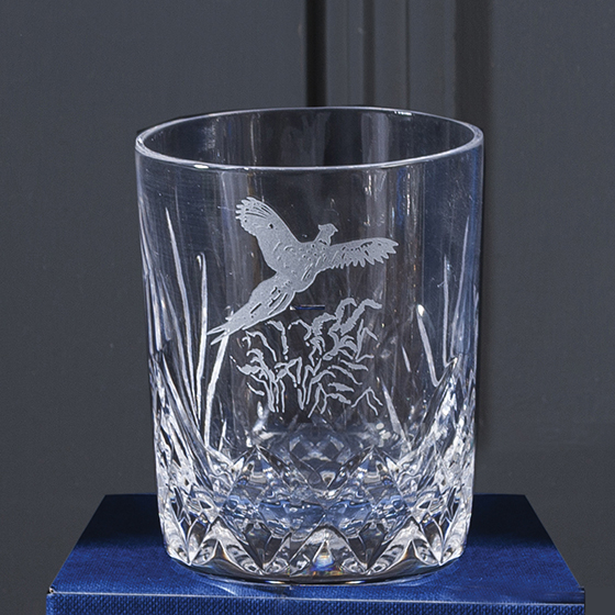 Royal Scot Crystal Whisky (small) Tumbler Cut Highland (with panel for engraving) (Gift Boxed) 87mm