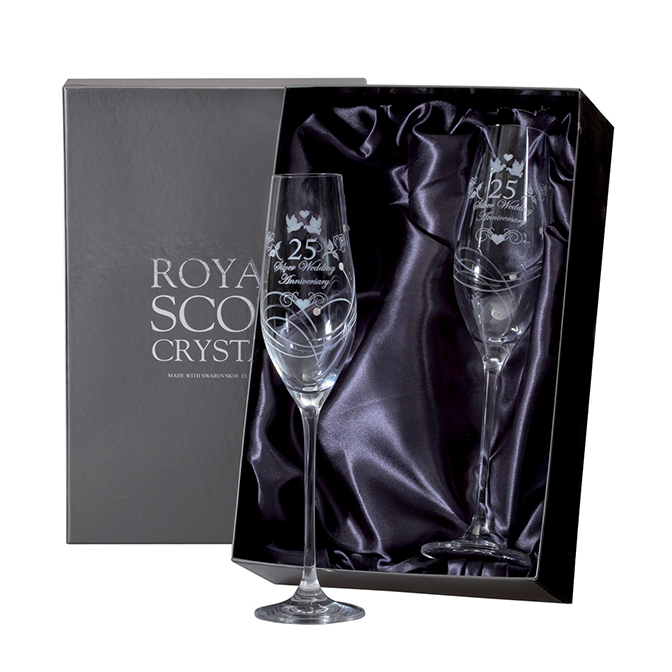 Royal Scot Crystal – 2 Tiara Champagne Flutes with Swarovski crystals