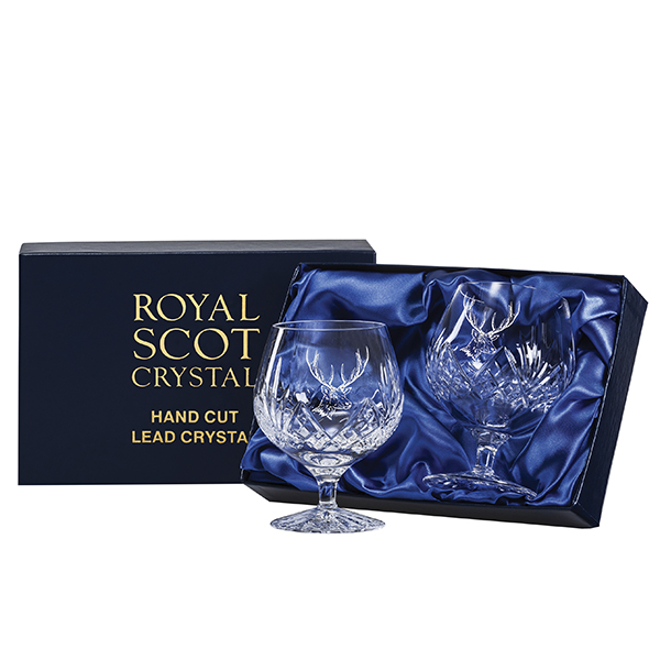 Royal Scot Crystal 2 Highland brandy glass with plain panel for engraving (satin lined box)