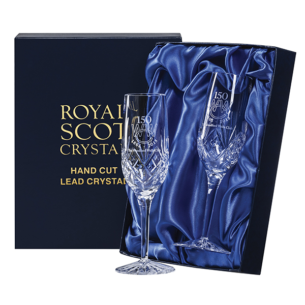 Royal Scot Crystal – 2 Champagne Flutes 'Highland' with panel for engraving (engraved one side)
