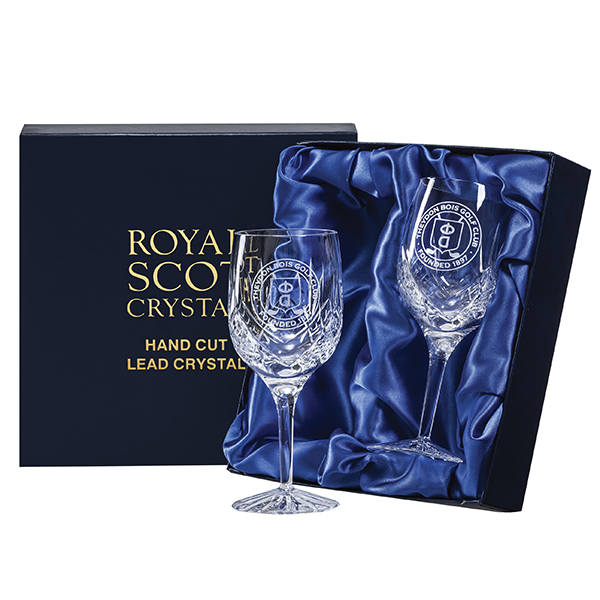 Royal Scot Crystal – 2 Large Wine Goblets 'Highland' with panel for engraving (engraved one side)