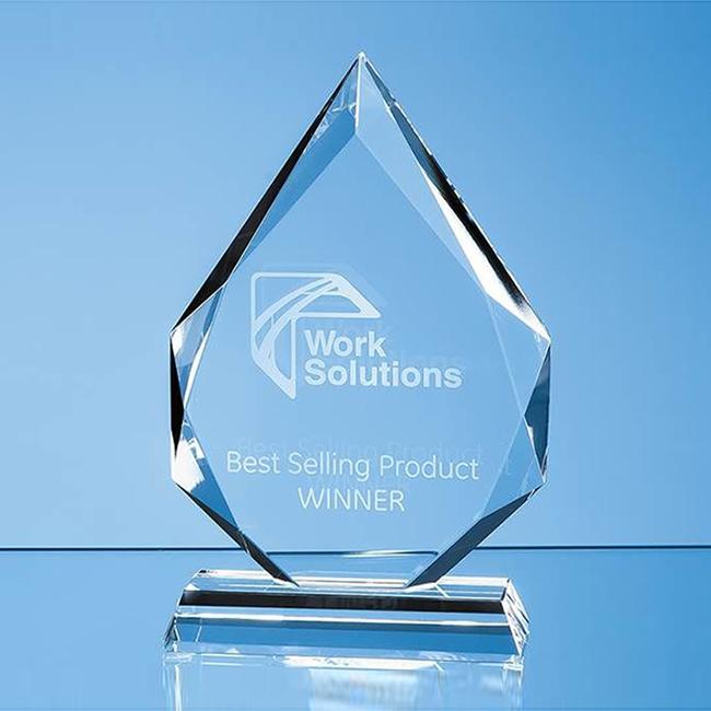 Clear Faceted Glass Diamond Peak Award (medium)
