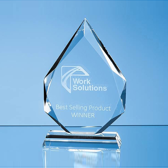 Clear Facetted Glass Diamond Peak Award (small)