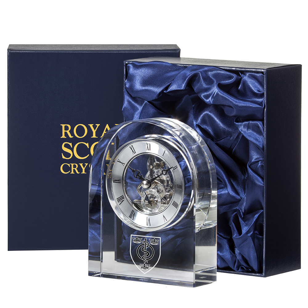 Royal Scot Crystal Contemporary Clock 15cm