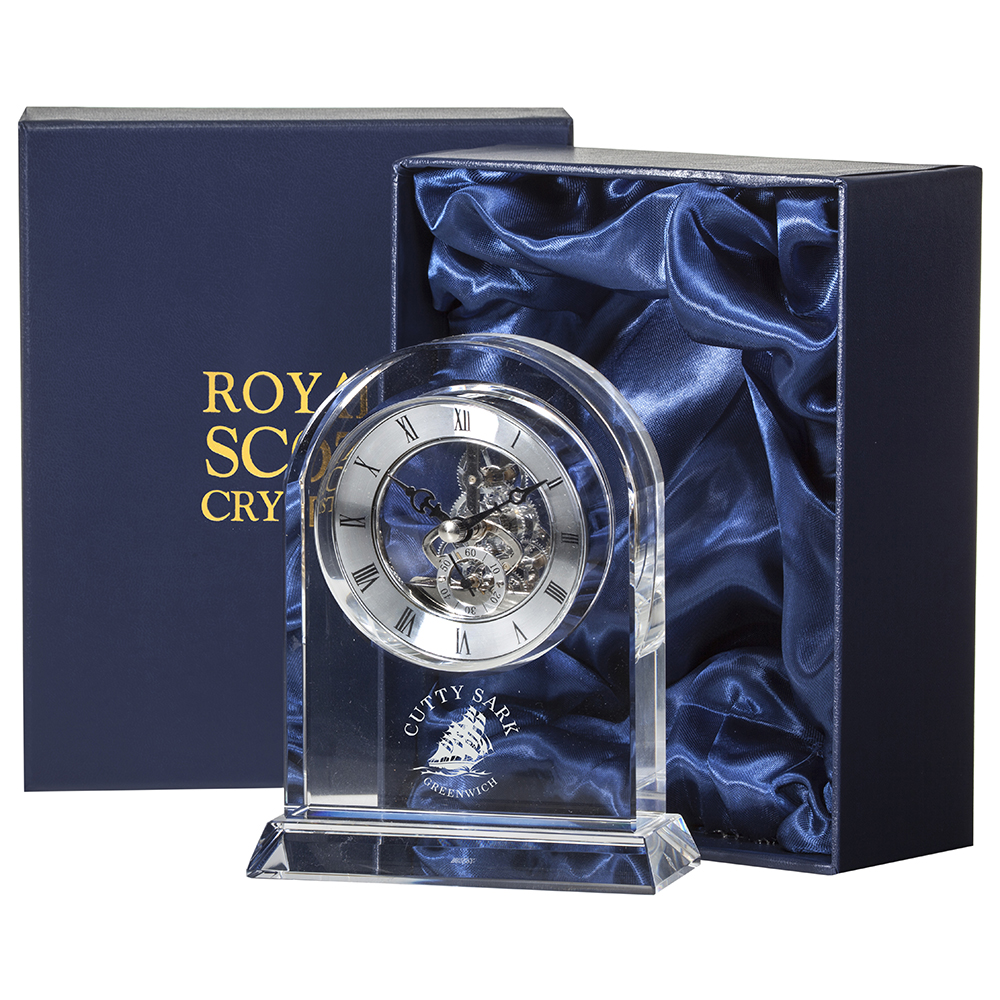 Royal Scot Crystal Large Mantle Clock 16cm